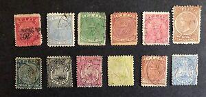 Fiji #39-44,53-58 1877-96 Used/Mint No Gum(42)