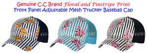 NEW! C.C Floral & Pinstripe Print Adjustable Mesh Trucker CC Baseball Cap