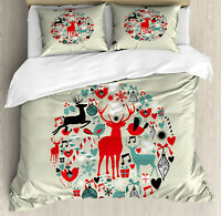 Christmas Queen Size Duvet Cover Set Decorative Ball with 2 Pillow Shams