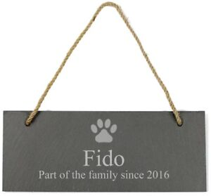 Personalised Dog Paw Print Hanging Slate Sign Plaque - Free Delivery