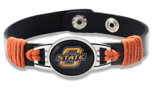 New Oklahoma State Cowboys Leather Adjustable Bracelet, Gift for Her Mom Him Dad