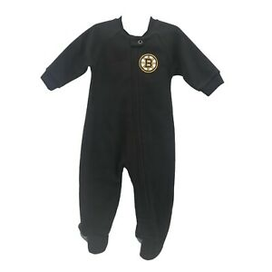 Boston Bruins Official NHL Apparel Baby Infant Size Pajama Sleeper Bodysuit New