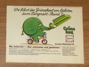 Seltene Werbung Langnese GRÜNOFANT Waldmeister-Eis Elefant auf Fahrrad 1978