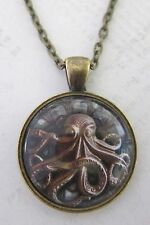Vintage  Steampunk Necklace Pendant Bronze Octopus New in Gift Bag