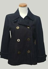 Ralph Lauren RL Dark Denim Red Stripe Sailor Coat Nautical Jacket Peacoat Size M