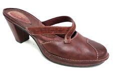 CLARKS Burgundy Leather Mules Size 10 or Shoes