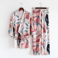 New Chinese Japanese Large Flowers In White Long Ladies Kimono Pyjamas ladpj293