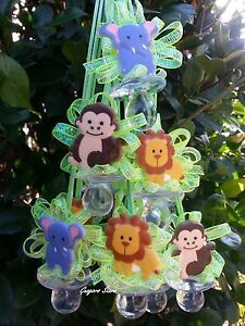 Jungle Safari Animal   12 Pacifiers Necklace Favors   Baby Shower Decoration