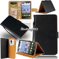 Black Flip Cover Stand Wallet Leather Case For Various LG Optimus SmartPhones