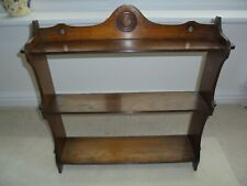 Vintage French solid wood wall shelves, 3 tier, bullseye design, Breton pegged