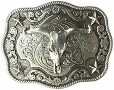 Ariat Mens Accessories Nocona Scaloped Rectangle Steer Buckle One