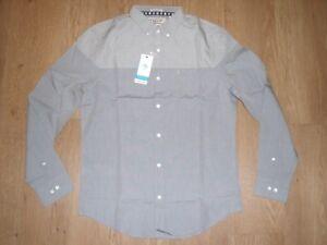 Original Penguin Office Grey Long Sleeve Shirt Cotton Slim Casual Formal M New