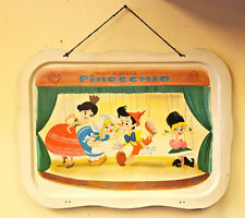 Disney Pinocchio Metal 1961 Vintage Metal Tray Dancing Puppets Vintage No Legs