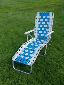 Vintage Aluminum Folding Chaise Lounge Chair Adjustable Light Blue White Retro 2