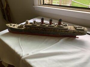 Vintage Model Steam Ship Folk Art Solid Wood OLD