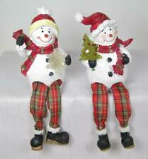 Snowman Shelf Sitters Tabletop Holiday Christmas Decor Set of 2 with LED light