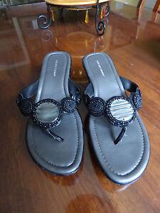 "Predictions Women's Size 8 Black Slip on 2"" Wedge Sandles"
