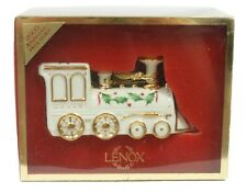Lenox 2000 Annual Holiday White Gold Porcelain Train w/Box Christmas Ornament