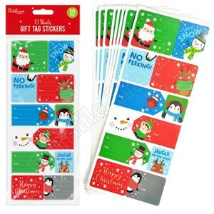 120 Christmas Sticker Gift Tags Labels Self Adhesive Presents Name Santa Snowman