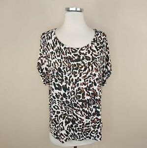 Cabi 3414 Animal Print Top Tee Short Cuffed Sleeve M Medium Stretch Knit