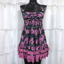 Size 6 - BETSEY JOHNSON Ruffled Rose Floral Silk Dress
