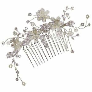 Petula Flower Sprig Wedding Hair Comb 11cm (Silver) (e2016hs)