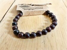 GARNET CRYSTAL POWER BEAD BRACELET GEMSTONE MALA HEALING NEW AGE JEWELLERY