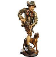 Statue Skulptur Der Jäger CM 15 IN Holz Der IN Gröden Dekoriert Hand