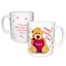 PERSONALISED VALENTINES DAY GIFT - Cute Message Teddy Bear Mug unique present