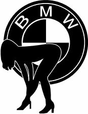 Sexy Girl Bent over + BMW logo, Truck, Lorry, Van & Car