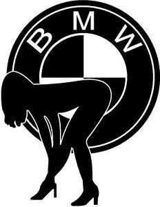 Sexy Girl Bent over + BMW logo, Truck, Lorry, Van & Car