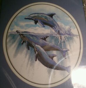 Dimensions 39009 Leaping For Joy Dolphins No Count Cross Stitch 1998 Peter Kull