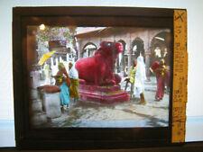 Antique 30s/40s Indian Magic Lantern Glass Slide Golden Temple Shiva's Red Bull