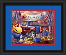 Kansas Jayhawks Framed Tailgate Print - Poster Wood Wall Sign Man Cave