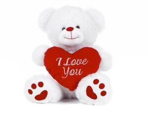 """NEW 10"""" WHITE I LOVE YOU VALENTINE'S TEDDY BEAR SOFT PLUSH TOY"""