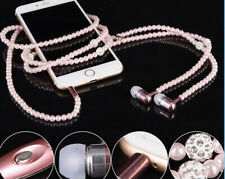 Headphones for Apple iPhone 5 6 s iPod Samsung S7 s6 with Rhinestone pearl Jewel
