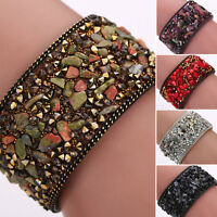 Fashion Women Faux Leather Wrap Wristband Cuff Multilayer Beaded Bracelet Bangle