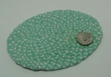 "Dollhouse Miniature Small  Braided Rug 3"" x 4""  Mint Green & white.1:12 scale"