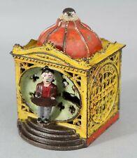 19thC Antique J & E Stevens Cast Iron LILLIPUT Mechanical Bank w/ Original Paint