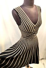 Ladies Morgan De Toi Black Gold Stripe Fit and Flare Party Ascot Dress UK XS