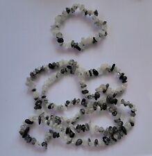 071 Black Rutile Quartz Tourmaline Rutile chip necklace & stretch bracelet set