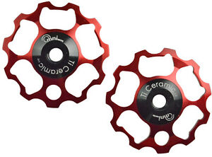 OMNI Racer SRAM 9 or 10 Speed Ti Ceramic Derailleur Pulleys GX Force Apex: RED