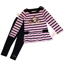 Size 3T Juicy Couture Set  Leggings Striped Top Shirt Pink Navy Blue NWT New