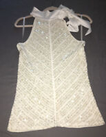 WHBM cream white sequined halter top bow at neck size XS
