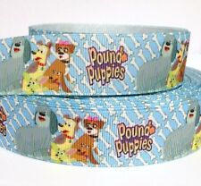 "GROSGRAIN RIBBON 1"" Cartoon Puppies Dogs Printed (Comine Shipping) USA SELLER"