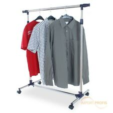 ADJUSTABLE CLOTHES HANGING RAIL RACK MOBILE ORGANIZER HANGING POLE 4 CASTORS ECD