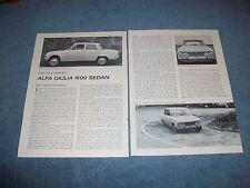 1963 Alfa Giulia 1600 Sedan Vintage Road Test Info Article