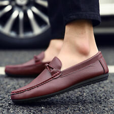 Mens Leather Casual Shoes Driving Loafers Slip On lazy Pea Moccasins Top Quality