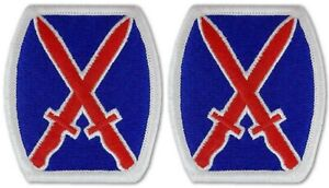 2 Pack US Army 10th Mountain Division Embroidered Fabric Sew-On Full Color Patch