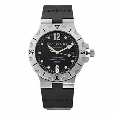 Bvlgari Diagono Scuba Stainless Steel Black Dial Automatic Mens Watch SD 38 S